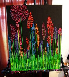 Hot Glue Gun Melted Crayon Canvas Wall Art #Crafts, #HomeDecor
