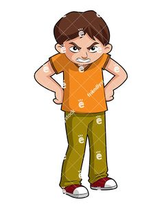 A Furious Young Boy With His Hands On Hips Giving A Mean Look: Royalty-free vector clipart of a furious young boy with his hands on hips giving a mean look. His scowl says you better run! Free Vector Clipart, Kids Vector, Hands On Hips, His Hands, Young Boys, Giving, Clip Art, Cartoon, Illustration