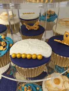 Blue and Gold Wedding: Used an embossed paisley rolling pin and large gold balls