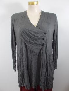 b0e3f0ac6a Chalet - Crinkle Dust Long Sleeve V-Neck Camila Pintuck Button Detail Tunic