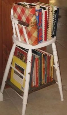 Doll or children's highchair cookbook rack shelves; perfect idea for vintage cottage style home kitchen decor; upcycle, recycle, salvage, diy, repurpose!  For ideas and goods shop at Estate ReSale & ReDesign, Bonita Springs, FL;