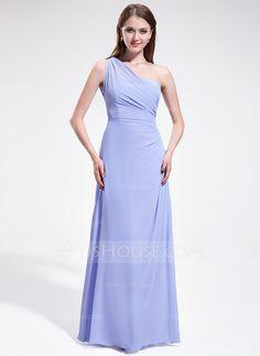 A-Line/Princess One-Shoulder Floor-Length Chiffon Bridesmaid Dress With Ruffle (007025607)