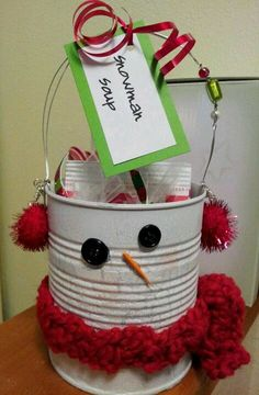 snow man soup made from tin can