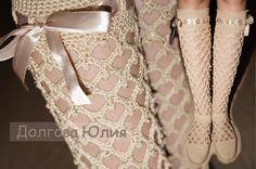 Вязание крючком сапожки на подошве - ажурный узор    Crochet boots wi...