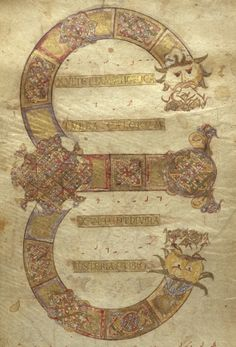 Detail of a decorated initial 'E'(xultet) at the beginning of the prayer for the lighting of the Paschal candle, Italy (Monte Cassino), c. 1075-1080, Add MS 30337, membrane 2