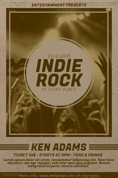 old Indie Rock Music Flyer Template | PosterMyWall | Indie Music ...