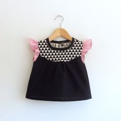 girls' cotton blouse with geo print detail