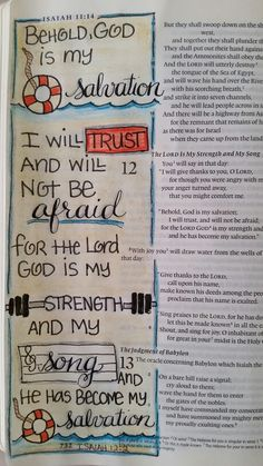 Isaiah 12:2 journaling from Dianne Gottron's Bible.