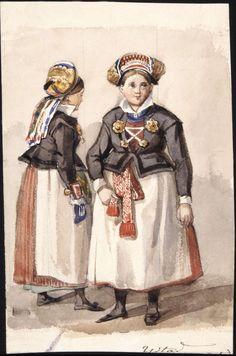 Två kvinnor från Ystad. Akvarell av Fritz von Dardel Folk Costume, Costumes, Folk Clothing, Swedish Fashion, Samurai, Painting, Clothes, Europe, Google
