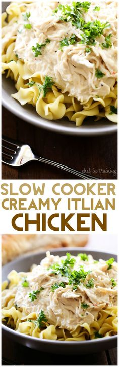 Slow Cooker Creamy Italian Chicken... this recipe is SO simple and packed with the most delicious flavor! It is perfect served over noodles or rice!
