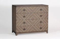 The Terrance Chest exemplifies transitional styling. A classic cerused oak dresser gets a geometric treatment with diamond shaped bone inlay that spreads over all 4 drawers. Oak Dresser, Chest Dresser, 4 Drawer Dresser, Modern Dresser, Dressers, Drawer Pulls, Nightstand, Dresser Storage, Storage Shelves
