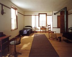 The Shaker Retiring Room is from the North Family Dwelling in New Lebanon, New York, which dates to around 1830–40