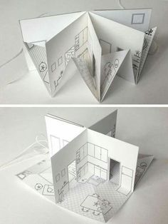 Origami Popup Book Video Tutorial - Paper Kawaii - Pop-up papieren huis - Origami Design, Concertina Book, Accordion Book, Paper Engineering, Paper Houses, Paper Doll House, Paper Folding, Book Folding, Handmade Books
