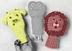 Pig and Lion Finger Puppets free crochet pattern
