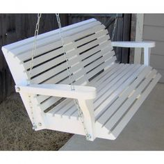 TMP Outdoor Furniture Roll Back 6 Foot Porch Swing   White