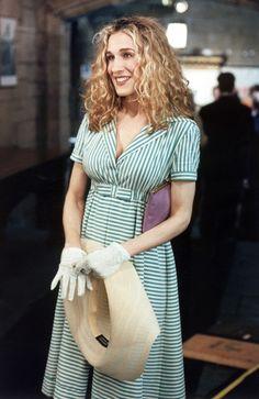 グリーンの ストライプ ドレスにラベンダーカラーのバック♡キャリー・ブラッドショー