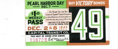 """Capital Transit Weekly Pass (Dec. 2-8, 1945) """"Pearl Harbor Day""""."""