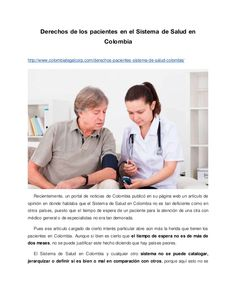 Derechos de los pacientes en el Sistema de Salud en Colombia http://www.colombialegalcorp.com/derechos-pacientes-sistema-d...