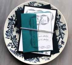 Navy and Teal Wedding Invitation Navy Blue Wedding by BeaconLane, $6.00