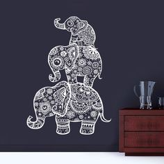 Elephant Wall Decal Family Decals Indian Boho Bedding Home Nursery Yoga Studio Decor Bedroom Dorm Vinyl Sticker AL4 (31.99 USD) by BestDecals