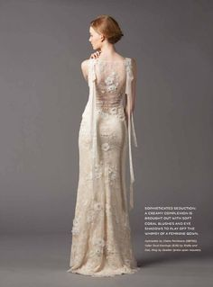 Claire Pettibone 'Aphrodite' wedding gown featured in Weddings in Winnipeg Magazine | Click here fore more views of this gown —> http://www.clairepettibone.com/bridal/?cp=gowns/aphrodite