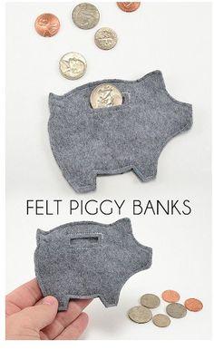 DIY Felt Piggy Bank #Various #Trusper #Tip