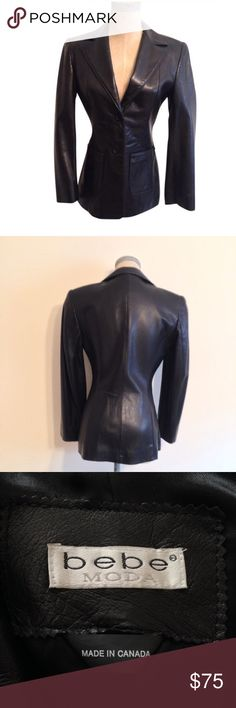 bebe Black Leather Jacket, Size 2, NWOT bebe Tailored Black Leather Blazer Jacket, Size 2, NWOT  * Front button (2) * Front pockets (2) * Fully lined * Single dart in back * Shell:  100% Leather * Lining:  100% Acetate * Leather clean only * Style P143 * Made in Canada bebe Jackets & Coats