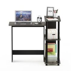 Furinno Abbott Corner Computer Desk with Bookshelf is made out of medium density fiber board which improves durability and increase the life span of the product. Additional space located at the side of the desk is available for storage and organizati Office Furniture Stores, Furniture Deals, Bookshelf Desk, Bookshelves, Grey Furniture, French Oak, Furniture For Small Spaces, The Life, Adjustable Shelving