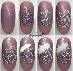 Here is a tutorial for an interesting Christmas nail art Silver glitter on a white background – a very elegant idea to welcome Christmas with style Decoration in a light garland for your Christmas nails Materials and tools needed: base… Continue Reading → Nail Noel, Xmas Nail Art, Cute Christmas Nails, Christmas Nail Art Designs, Xmas Nails, Winter Nail Art, Holiday Nails, Winter Nails, Diy Nails