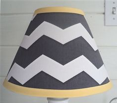 Lamp Shade Grey Chevron Yellow Child Baby Nursery Bedroom Decor Gray White Ebay