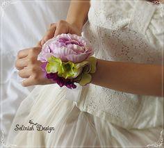 Bridal Wrist Corsage Purple Wedding Corsage Prom by SelinishDesign, $15.85