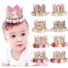 Birthday Crown Flower Tiara Headband for Baby Kids Party Hair Band Accessories First Birthday Hats, Birthday Tiara, Baby Girl 1st Birthday, Gold Birthday Party, Happy Birthday Parties, Flower Birthday, Glitter Birthday, Women Birthday, Birthday Kids