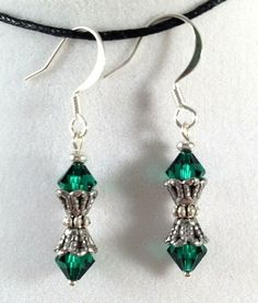 Emerald Green Swarovski Earrings from Drops of Sunshine Jewelry