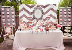 chevron, wedding shower, bridal shower, engagement party, day after wedding brunch breakfast buffet Wedding Shower Decorations, Bridal Shower Tables, My Bridal Shower, Bridal Showers, Wall Decorations, Baby Showers, Wedding Centerpieces, Wedding Favors, Bar A Bonbon