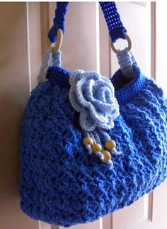 Crochet blue spring summer purse with rose, blue shoulder bag, summer bag… Crotchet Bags, Knitted Bags, Unique Purses, Handmade Purses, Crochet Handbags, Crochet Purses, Knitting Patterns, Crochet Patterns, Summer Purses