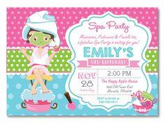 Invitación fiesta de spa. Invitación fiesta por happyappleprinting