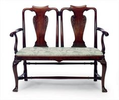 Clairmont House furniture. A QUEEN ANNE MAHOGANY DOUBLE-CHAIR BACK SETTEE,