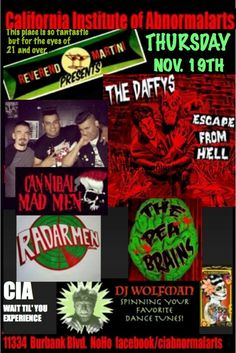 This just got even better! Add The Peabrains to The Daffy's, Cannibal Mad Men, The Radarmen and DJ Danny Wolfman for Reverend Martinis show this Thursday at the EXPERIENCE that is the CIA North Hollywood. Its like a ride at Disneyland but better!