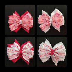 I Love Mommy/Mommy's Girl & I Love Daddy/Daddy's Girl Hair Bows by CreationsByDMPN on Etsy