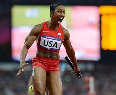 Carmelita Jeter reacts after completing the anchor leg as the U.S. won the 4x100 relay in world record time (40.82) on Friday. Jeter, Tianna Madison, 200-meter champion Allyson Felix and Bianca Knight cut more than a half-second off the old record of 41.37 run by East Germany in 1985. #london2012