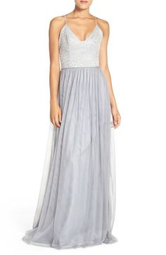 Hayley Paige Occasions Metallic Lace & Tulle Spaghetti Strap Gown available at #Nordstrom