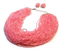 Vintage 1950s hot pink micro glass beads necklace and earring set.