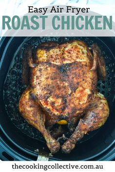 You're going to love how easy this family-sized air fryer roast chicken is! A whole chicken is covered in a dry spice rub and then air fried to crispy, golden perfection with a hint of lemon and herbs. The meat is juicy and tender with perfect, extra crispy skin – every time! All you need is a few simple ingredients for this healthy, easy weeknight roast that the whole family will enjoy. Roast Chicken, Fried Chicken, Tandoori Chicken, Quick Easy Meals, Easy Dinner Recipes, Healthy Meals, Healthy Recipes, Air Fryer Healthy, Spice Rub