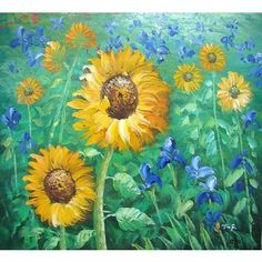 Hand made oil painting on canvas - Sunflower Dance