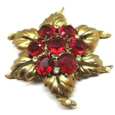 Red Brooch - Vintage, Gold Tone, Red Glass, Rhinestones and Faux Pearl Floral Pin by MyDellaWear on Etsy $26