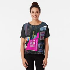 Selena Gomez, Chiffon Tops, New York City, Printed, Awesome, Sleeves, Fabric, Mens Tops, Women
