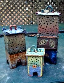 Exceptional Green Garden Lantern By Cheryl Wolff (Ceramic Candleholder   Garden Lanterns,  Green Garden And Pottery