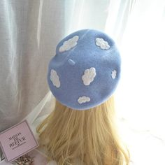 French Beret Hat, Makeup Room Decor, Makeup Rooms, Blue Clouds, White Clouds, Kawaii Clothes, Kawaii Outfit, Diy Clothes, Cute Hats