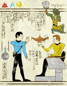 "Artist: Josh LN ~ """"Hero-Glyphics"" or when superheroes are invited in the papyrus of ancient Egypt. An excellent series featuring Spiderman, Thor, Captain America, or the Star Trek & Teenage Mutant Ninja Turtles! Artwork designed by artist Josh LN."" ~ This one: Star Trek ~"