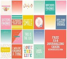 Free Journaling Cards from kensie kate #journaling cards #projectlife
